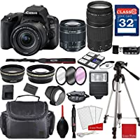 Canon EOS 200D Rebel SL2 Kit with EF-S 18-55 mm f/4-5.6 is STM Lens and EF75-300 mm f/4-5.6 III Lenses and Accessory Bundle