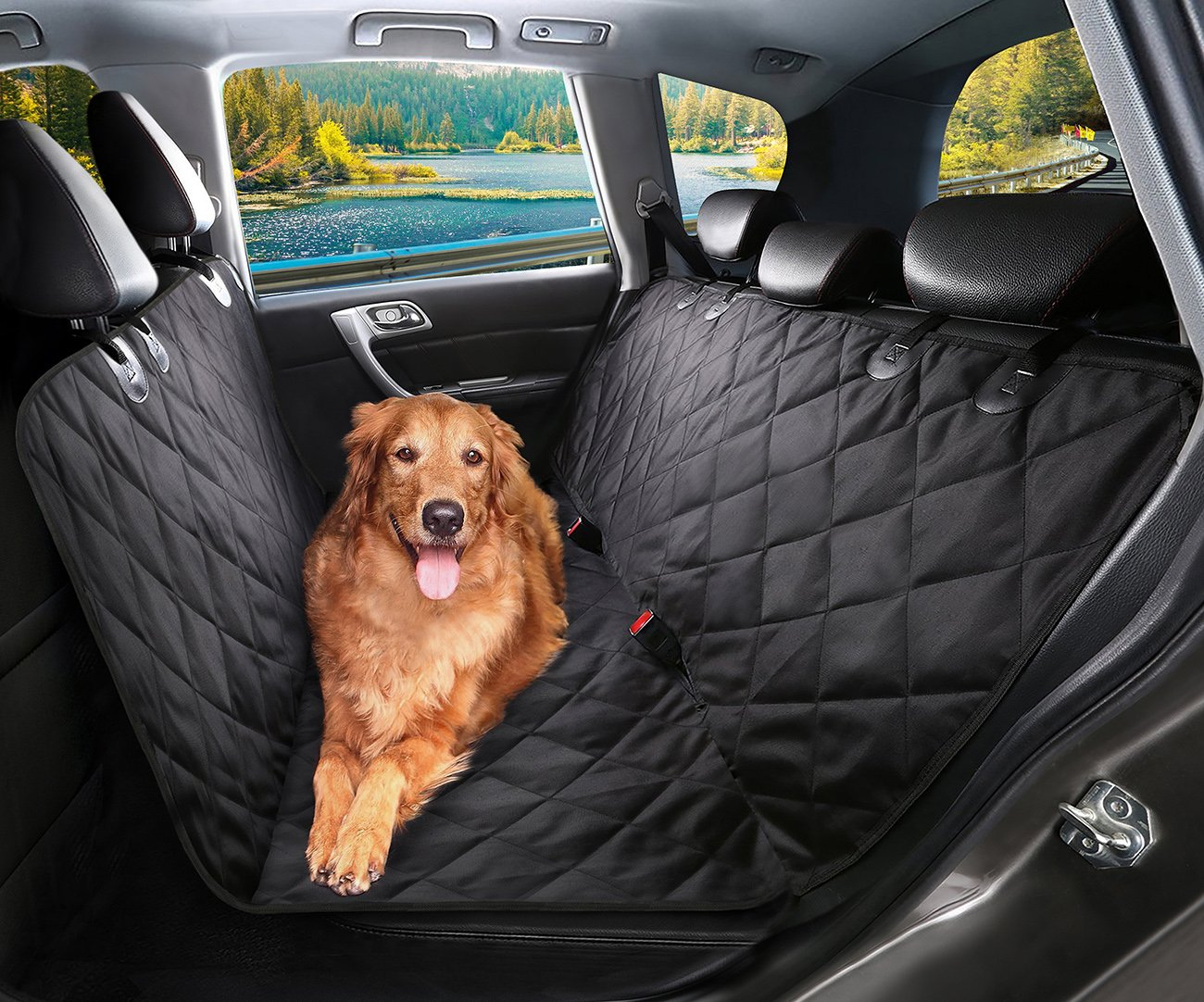 Durable Machine Washable Black Dog Car Seat Cover SHINE HAI Waterproof /& Scratch Proof /& Nonslip Back Seat Cover Dog Travel Hammock with Seat Anchors Pet Cover Universal fits All Cars