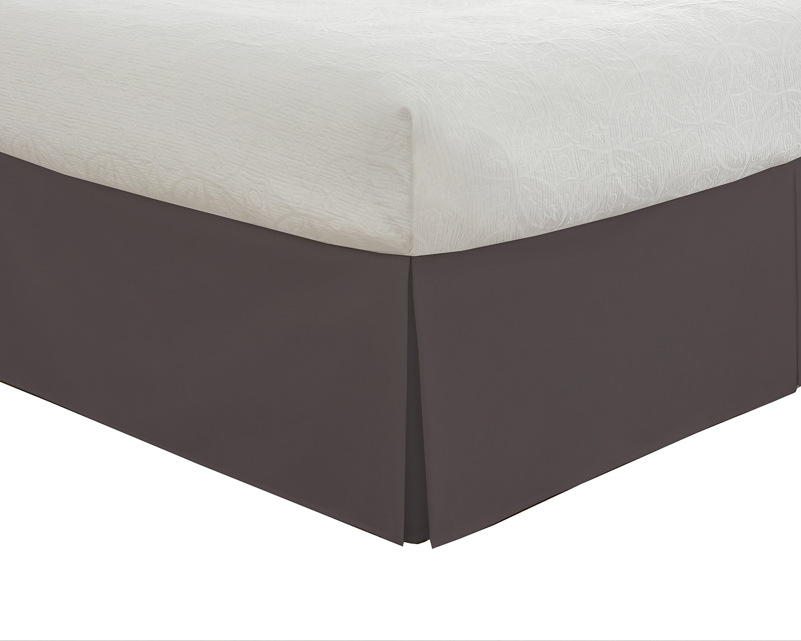 """Lux Hotel Bedding Tailored Bed Skirt, Classic 14"""" Drop Length, Pleated Styling, Twin XL, Grey"""