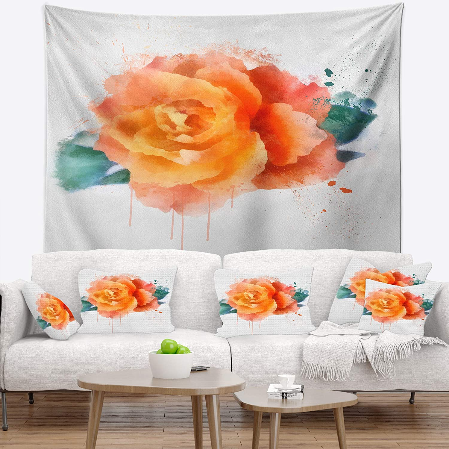Designart TAP13640-32-39 ' Orange Rose with Green Leaves' Floral Blanket Décor Art for Home and Office Wall Tapestry Medium: 32 in. x 39 in. Created On Lightweight Polyester Fabric