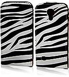 """Handytasche Flip Case """"Zebra"""" für Samsung Galaxy S4 Mini (La Fleur) Handy Tasche Schutz Hülle Etui Schale Cover"""
