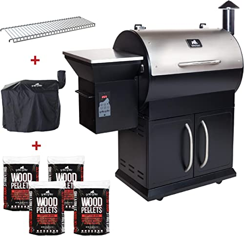 Grilla Grills – Silverbac Alpha Model Bundle Multi Purpose Smoker and BBQ Wood Pellet Grill with Dual Mode PID Controller Stainless Steel Construction Up to 900 Sq. in Cooking Space