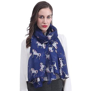 Lina   Lily Écharpe Foulard pour Femme Imprimé Licorne (Bleu ... aeaa72d230a