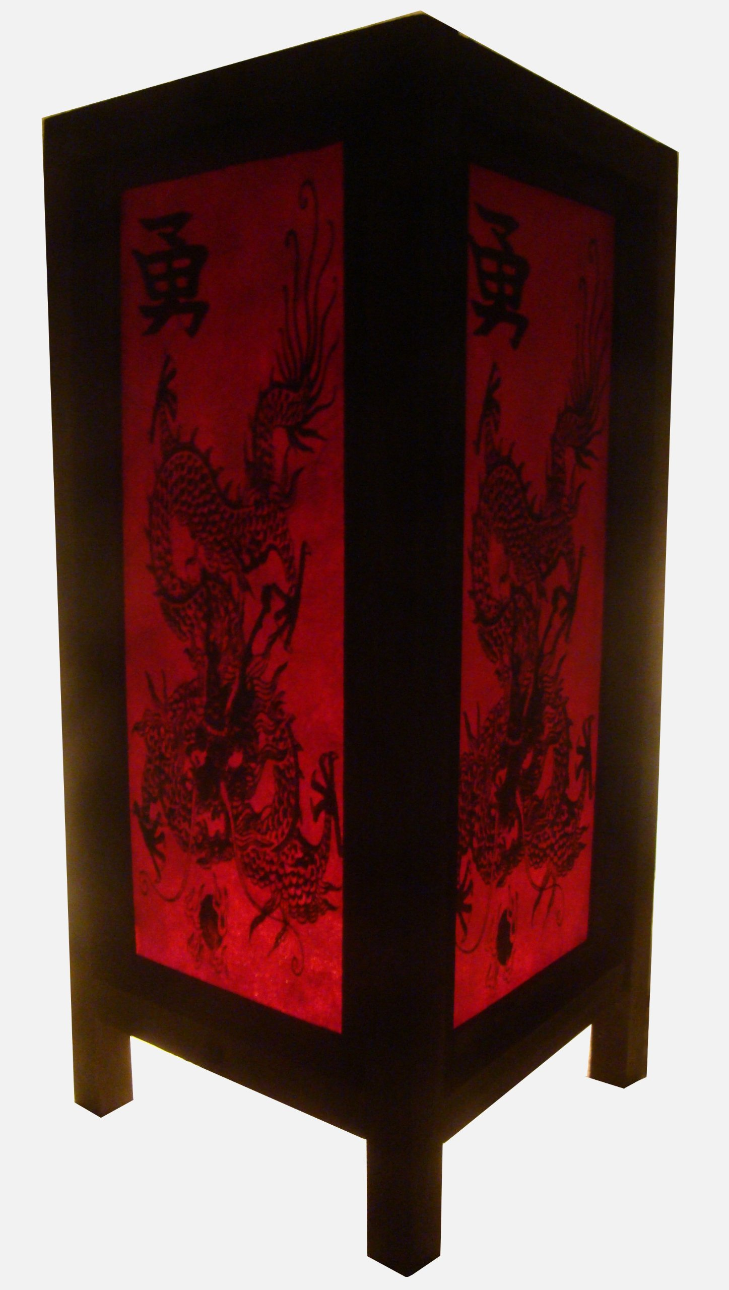 Thai Vintage Handmade Asian Oriental China Black Red Dragon Bedside Table Light or Floor Wood Paper Lamp Shades Home Bedroom Garden Decor Modern Design from Thailand by Red berry Thailand Lanna Lamp