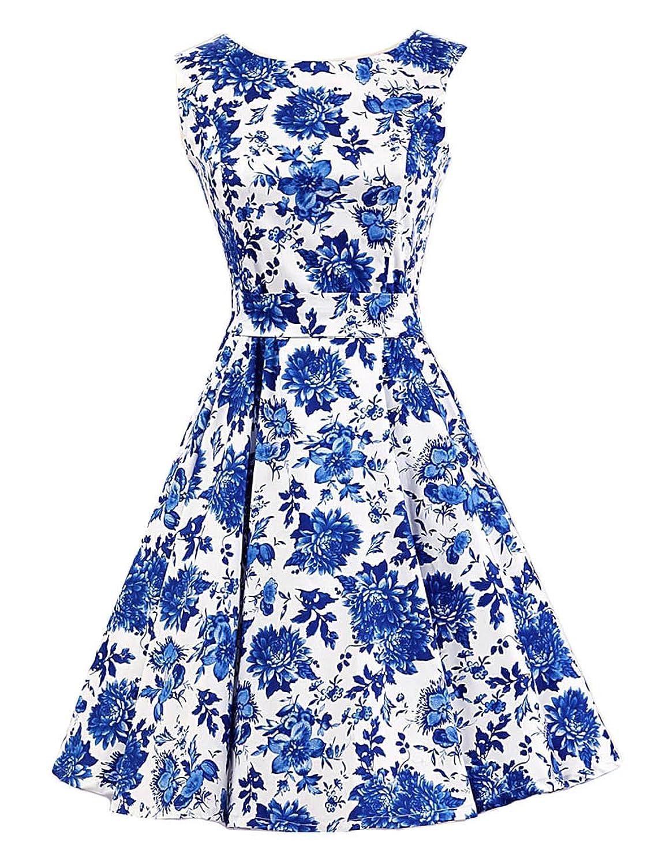 SMITHROAD Rockabilly 50er Kleid Abschlussballkleid Chinese Stil Blumen Hohe Taille