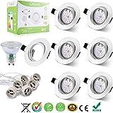 Liqoo® 6 x GU10 LED 6W Spots Encastrables Lumière Blanc Chaud Lampe Projecteur SMDs Ampoule LED avec Fixation Recessed Cadre rond de Montage GU10 Douille 530lm Equivalente Incansdance de 40W