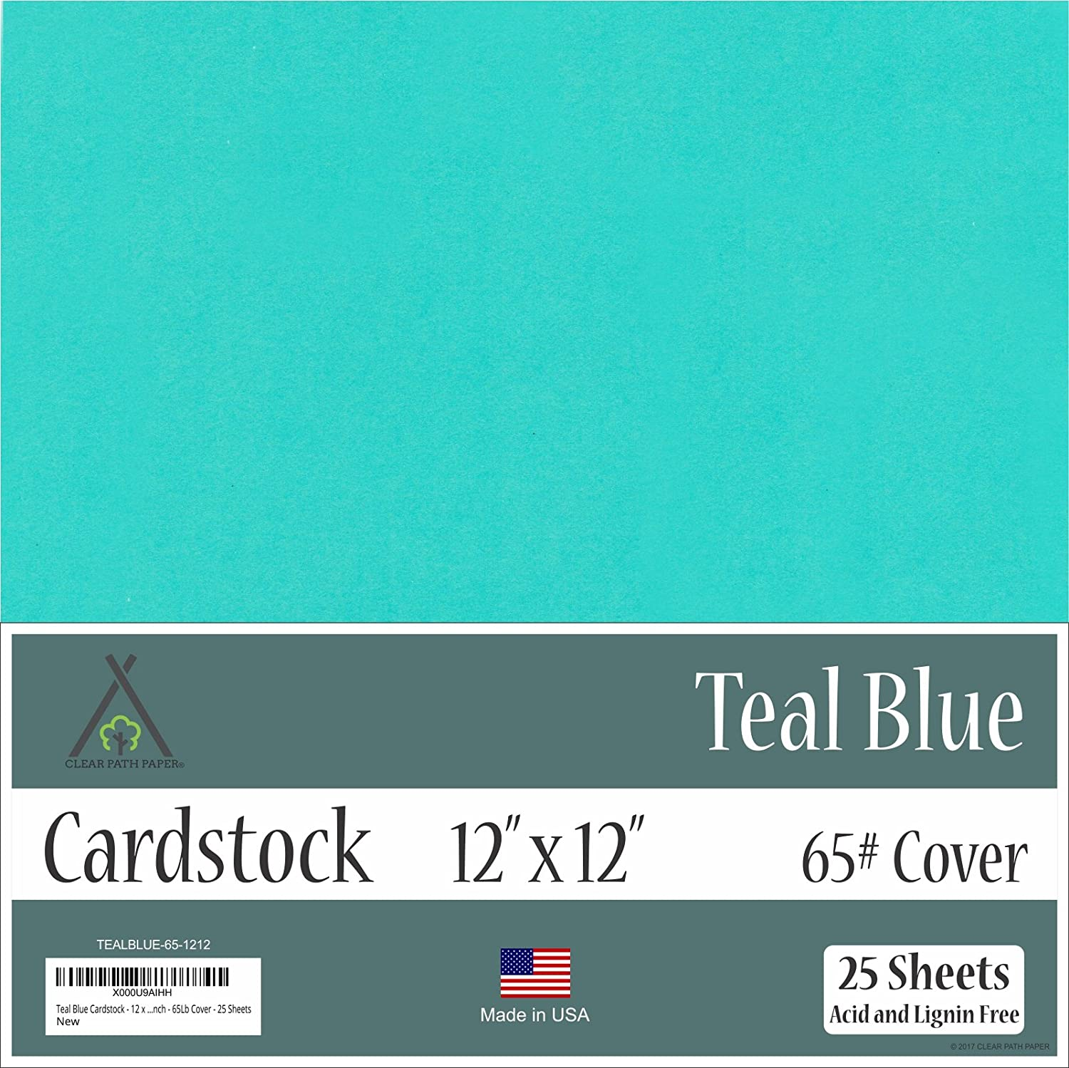 Teal Blue Cardstock - 12 x 12 inch - 65Lb Cover - 25 Sheets Clear Path Paper CW-TEAL-1212-1S