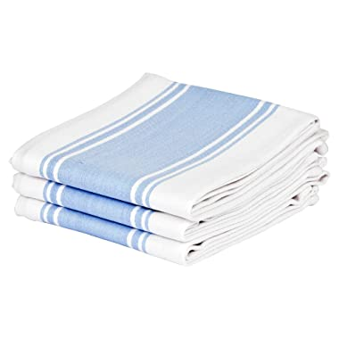 Cucinare Kitchen Tea Towels By 100% Cotton, Professional Grade, Finely Woven, Large, Absorbent with Vintage Striped Tea Towel, Set of 3 or 6 (Size 20 x 28 ) (3, Light Blue)