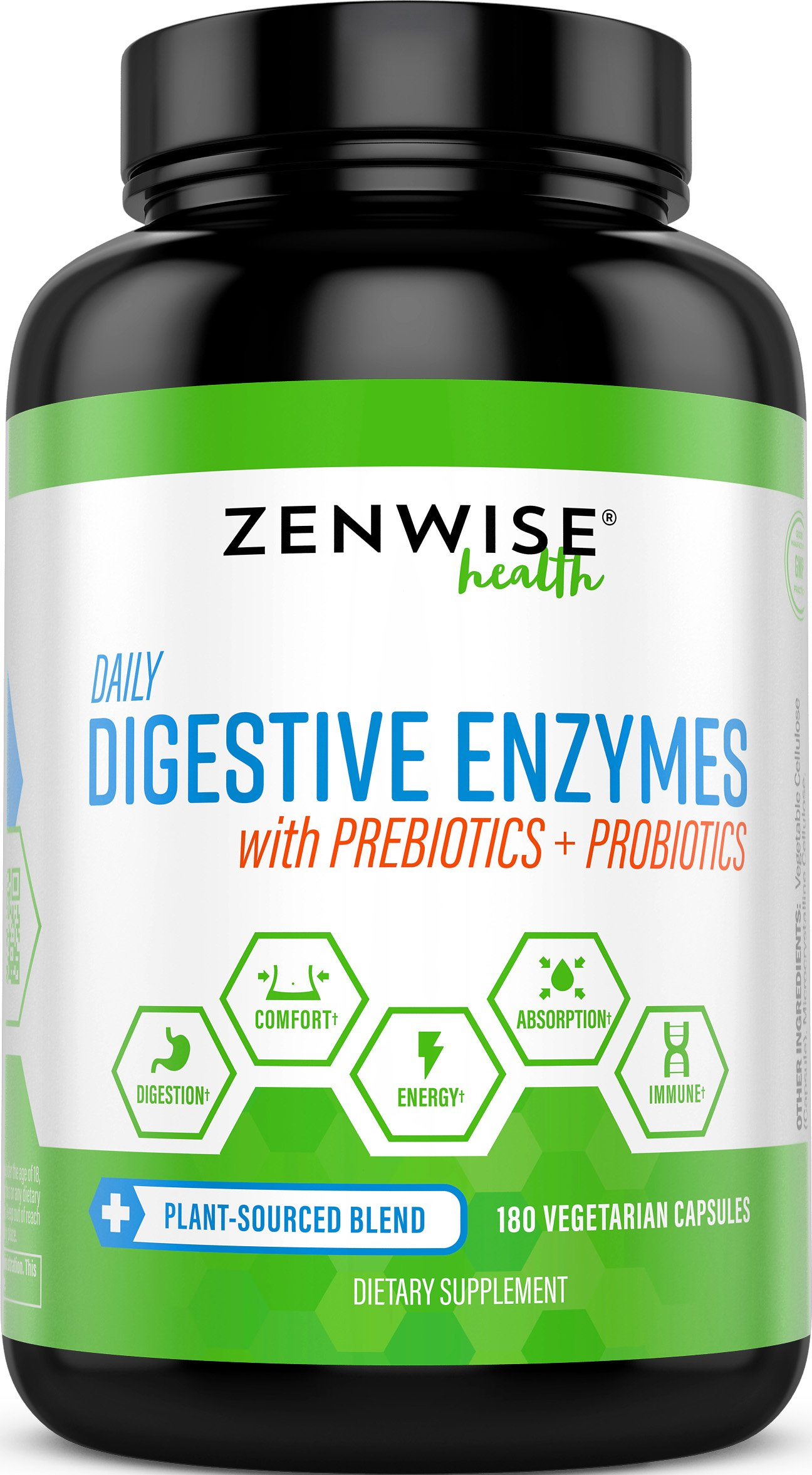 Digestive Enzymes Plus Prebiotics & Probiotics - Natural Support for Better Digestion & Lactose Absorption - For Bloating, Constipation & Gas Relief + Helps IBS & Leaky Gut - 180 Vegetarian Capsules