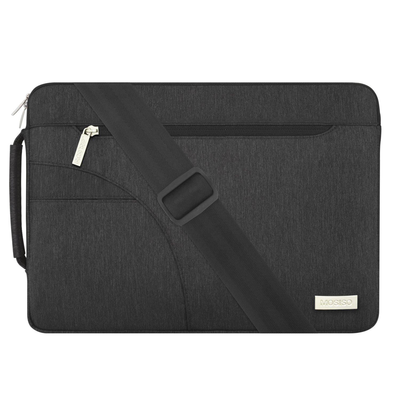 MOSISO Laptop Shoulder Bag Compatible 15-15.6 Inch MacBook Pro, Ultrabook Netbook Tablet, Polyester Ultraportable Protective Briefcase Carrying Handbag Sleeve Case Cover, Black