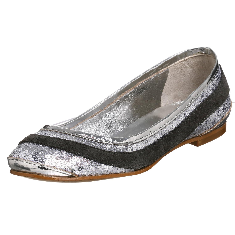 outlet store d7e41 9d659 Moschino Love Women's Ballerina Ballet Flat, Silver/Grey, 38 ...