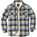 CQR Men's Sherpa Lined Flannel Shirt Jacket, Soft Long Sleeve Rugged Plaid Button Up Jacket