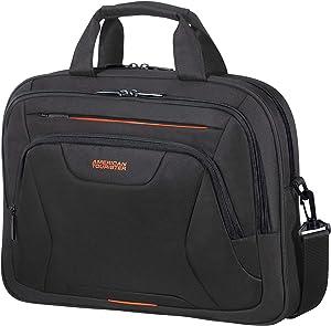 American Tourister Unisex Adult Briefcase, Black (Black/Orange), M (15.6 Inch)
