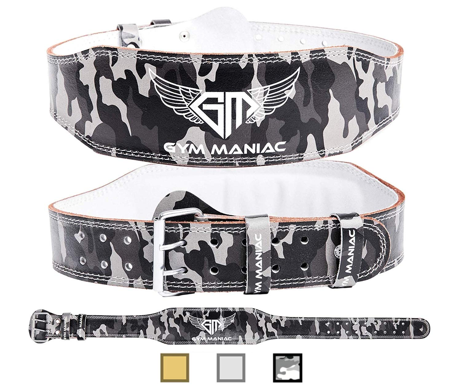 Gym Maniac GM Weight Lifting Waist Gym Belt | Adjustable Size, 2 Prong Buckle, Comfy Suede, Reinforced Stitching | Support Your Back & Alleviate Pains (CAMO, Small)