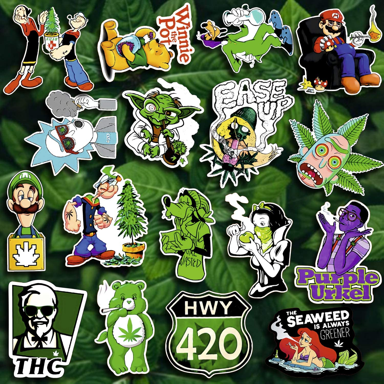 Weed Stickers Pack of 36 Vinyl Decals Trippy Stickers Pack for Water Bottles Laptop Phone Computer Car Luggage Cool Marijuana Stickers for Adults