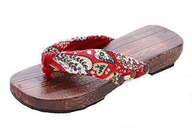 Kawaii-Story K-G-06 Rot Red Bunte Bumen Geta Original Geisha Japan Holz Sandale Socken für Kimono Yukata Flip-Flop Zehentrenner ETrPe5mhj
