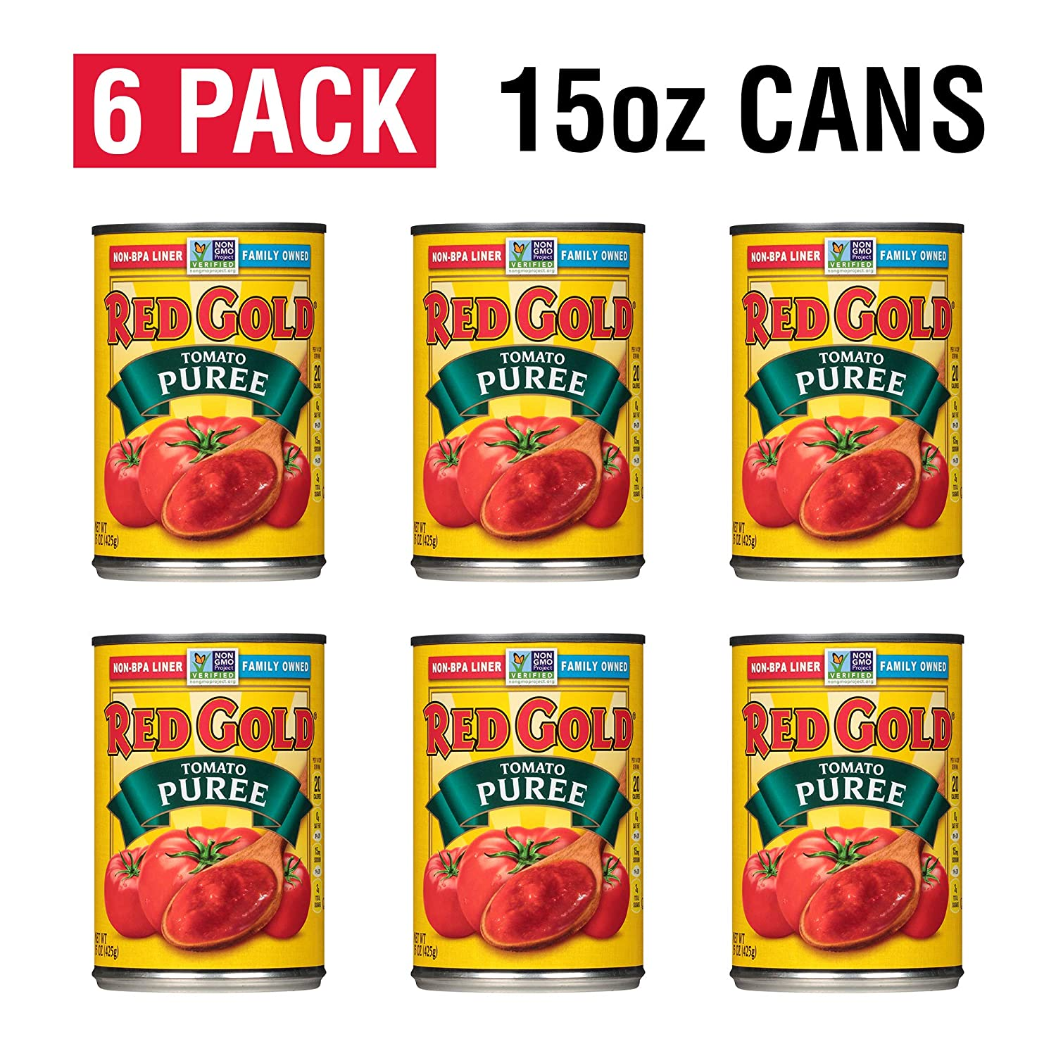 Red Gold Tomato Puree, 15oz Can (Pack of 6)