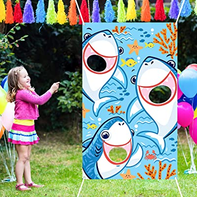 Shark Bean Bag Toss Games with 3 Bean Bags, Shark Party Games Toy Pool Party Decoration for Baby Children Family Sea Ocean Theme Shark Party Favor Supplies Clasroom: Toys & Games