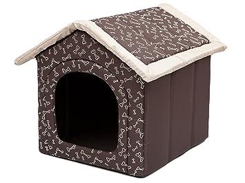 Hobbydog Caseta para Perros L R3 marrón con Huesos (52 x 46 x 53 cm