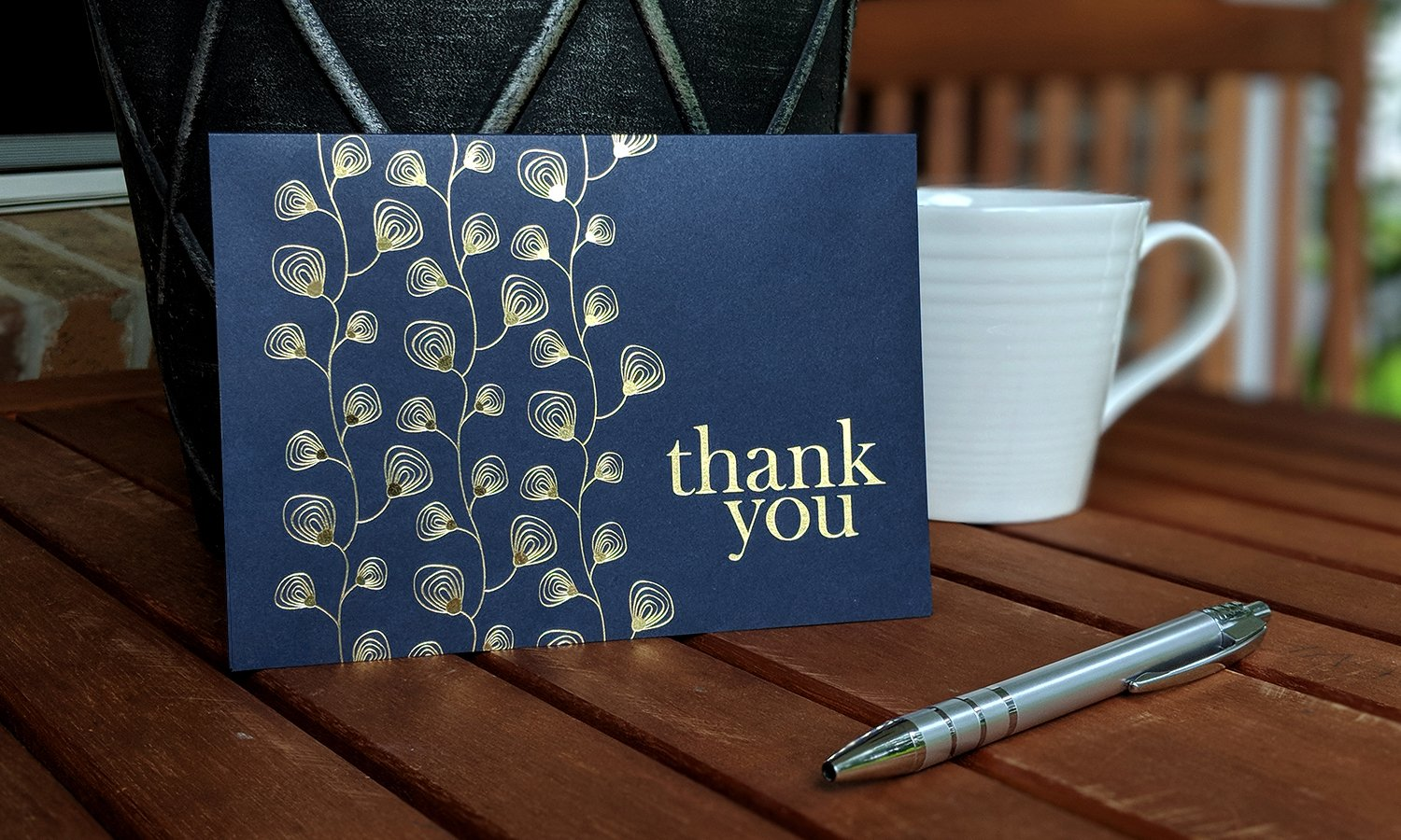 100 Thank You Cards Bulk - Thank You Notes, Navy Blue & Gold - Blank Note Cards with Envelopes - Perfect for Business, Wedding, Gift Cards, Graduation, Baby Shower, Funeral - 4x6 Photo Size by Spark Ink (Image #4)