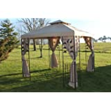 Leaf Design 2.5M Square Garden Gazebo-Beige Cover & 4 Polyester Curtains With Strong Steel Frame-REDUCED