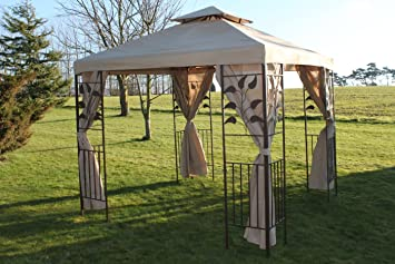 Leaf Design 2.5M Square Garden Gazebo Beige Cover U0026 4 Polyester Curtains  With Strong