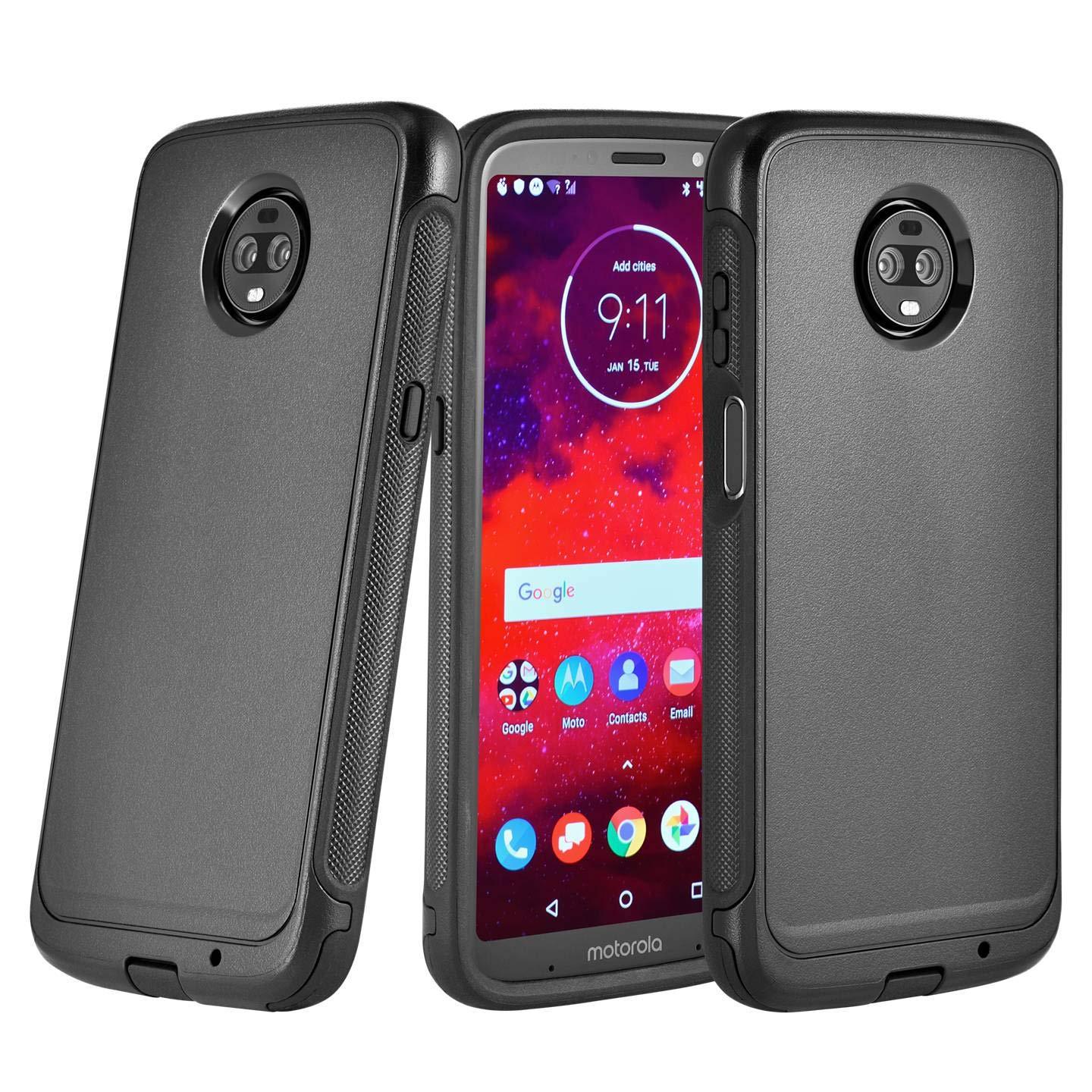 Moto Z3 Moto Z3 Play Case - Rugged Design Protective Heavy Duty Dual Layer  Black (Does not Work with Other Models Moto Z2 Force, Moto Z, Z Force, and