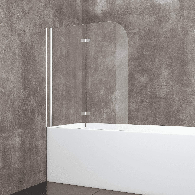 Mampara de bañera móvil de 180 grados, mampara de ducha con doble ...