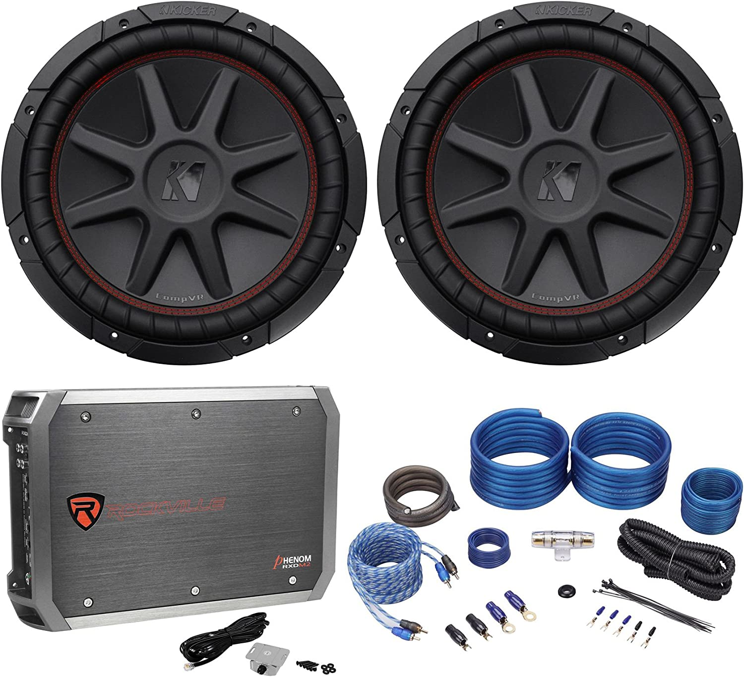 "(2) Kicker 43CVR124 COMPVR 1600W 12"" Car Subwoofers Subs+Mono Amplifier+Amp Kit 811Xfg87k4LSL1500_"