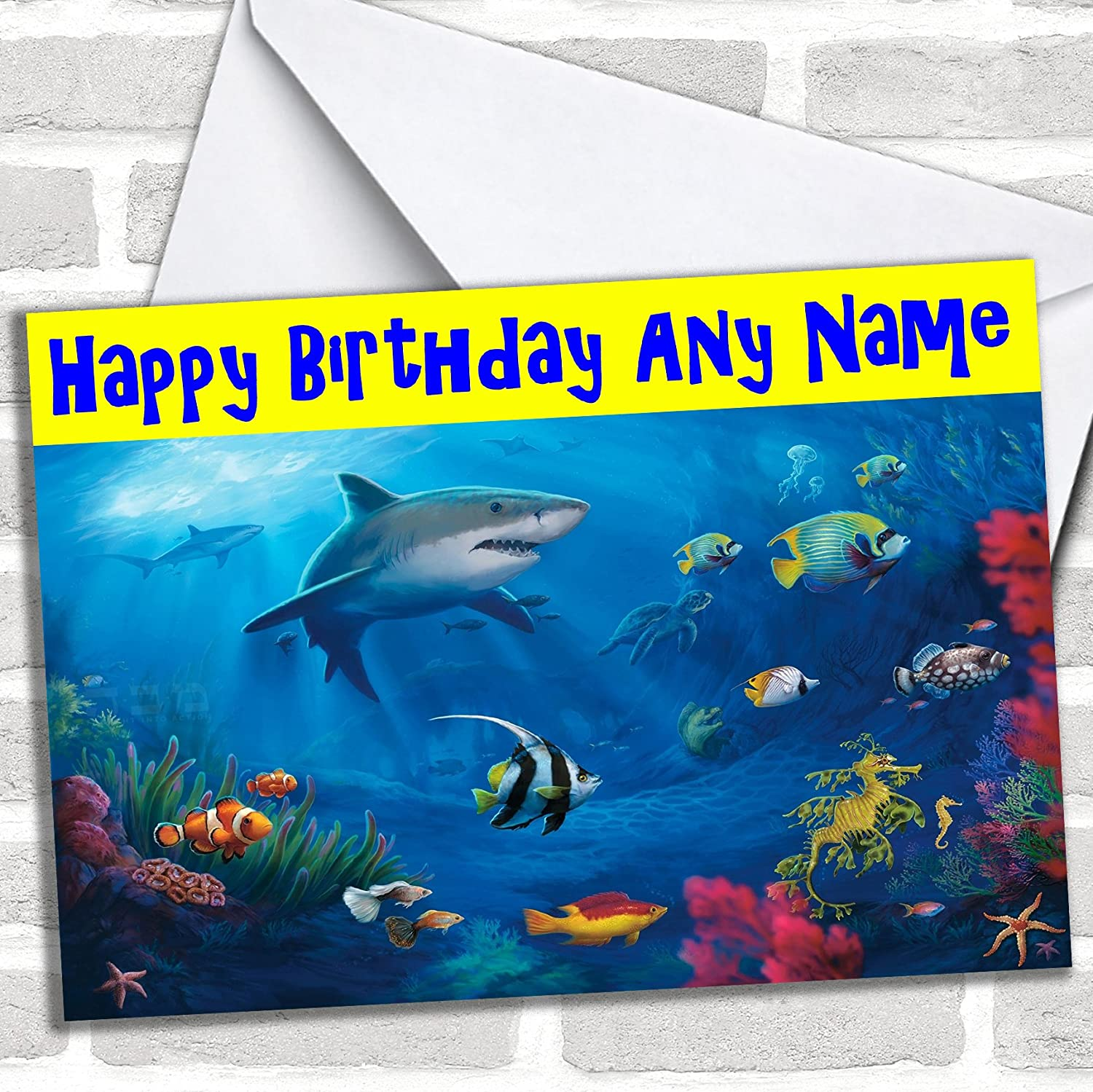 Baby shark Birthday Card Personalised with and name or relation or age 02