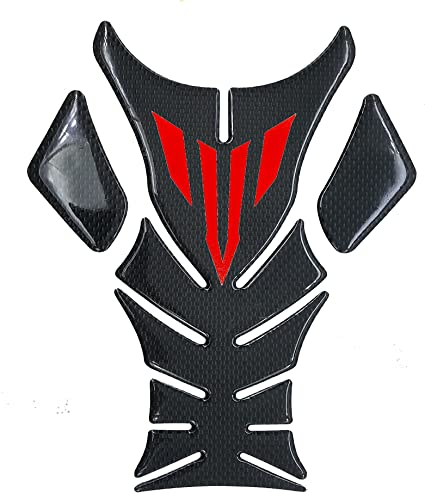 8 inches Real Carbon Fiber 3D Red Sticker Vinyl Decal Emblem Protection Gas Tank Pad For Yamaha Yzf R1