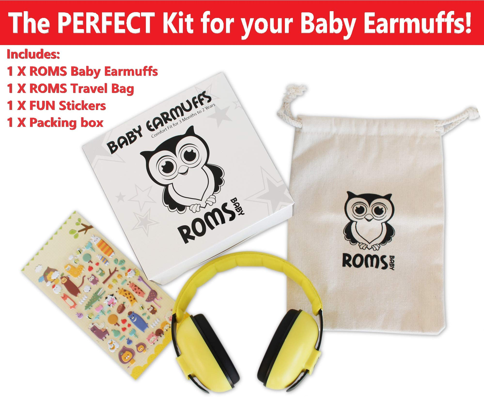 Noise Cancelling Baby Ear Protection Baby Earmuffs ~ Protect Infants and Kids Hearing with Safe, Sound Proof Baby Ear Muffs ~ Comfort Fit + Bonus Travel Bag and Stickers by ROMS Baby (Yellow)