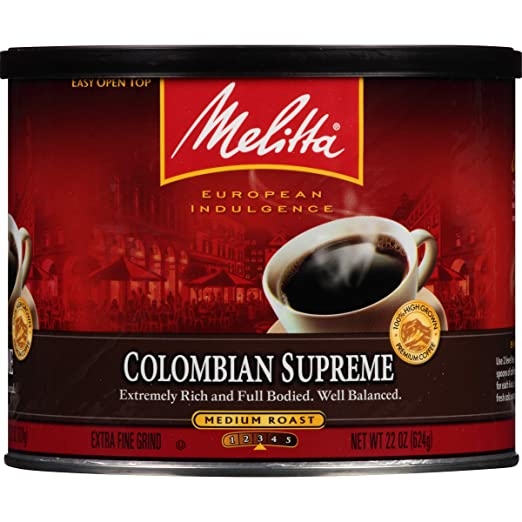Melitta Coffee Colombian Supreme, Ground, Medium Roast, 22 Ounce by Melitta