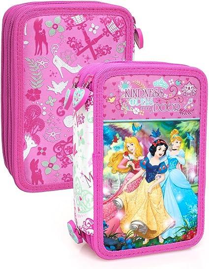 Princesas Disney 10624 Estuche 3 bisagras, plumier Triple, 44 Piezas, Cenicienta, Aurora, Blancanieves: Amazon.es: Oficina y papelería