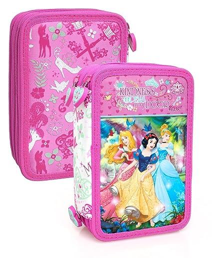Princesas Disney 10624 Estuche 3 bisagras, plumier Triple, 44 Piezas, Cenicienta, Aurora, Blancanieves