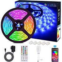 Bluetooth LED Strip, ALED LIGHT 5050 Waterdicht 16.4Ft 5M 150 LED Stripes Light Smart Phone Controlled RGB Light Hoses…