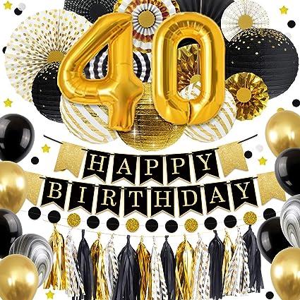 NICROLANDEE 40 Decoraciones de cumpleaños - Globo de Oro ...