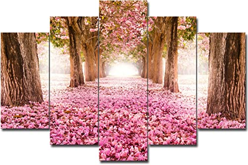 SureArt Framed Canvas Painting, Modern Wall Art, Home Deco, Natural scenery pink Flowers-5PCS SET L size-framed