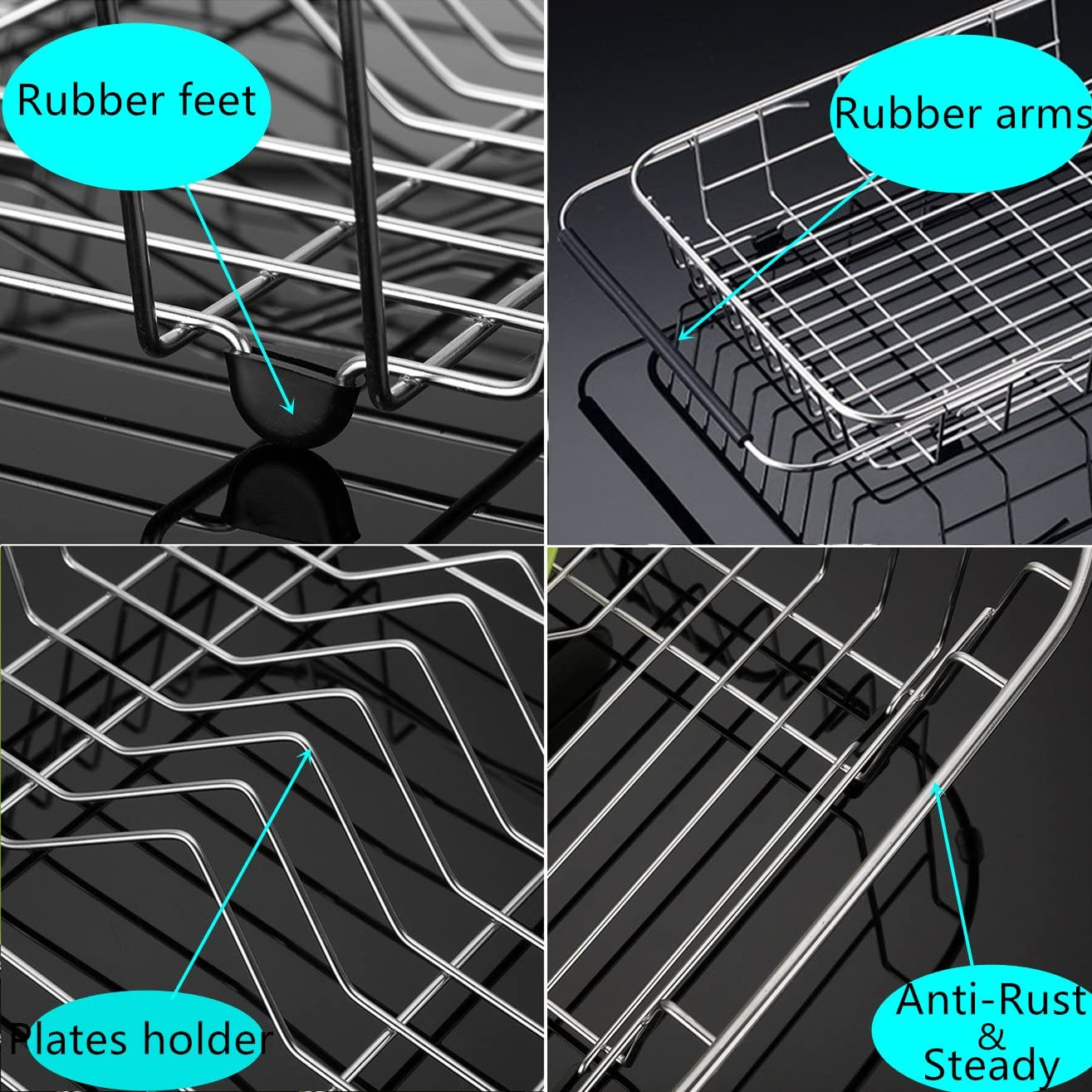 iPEGTOP Expandable Dish Drying Rack Over the Sink Dish Rack Rustproof Stainless Steel for Kitchen In Sink Or On Counter Dish Drainer with Grey Utensil Holder Cutlery Tray