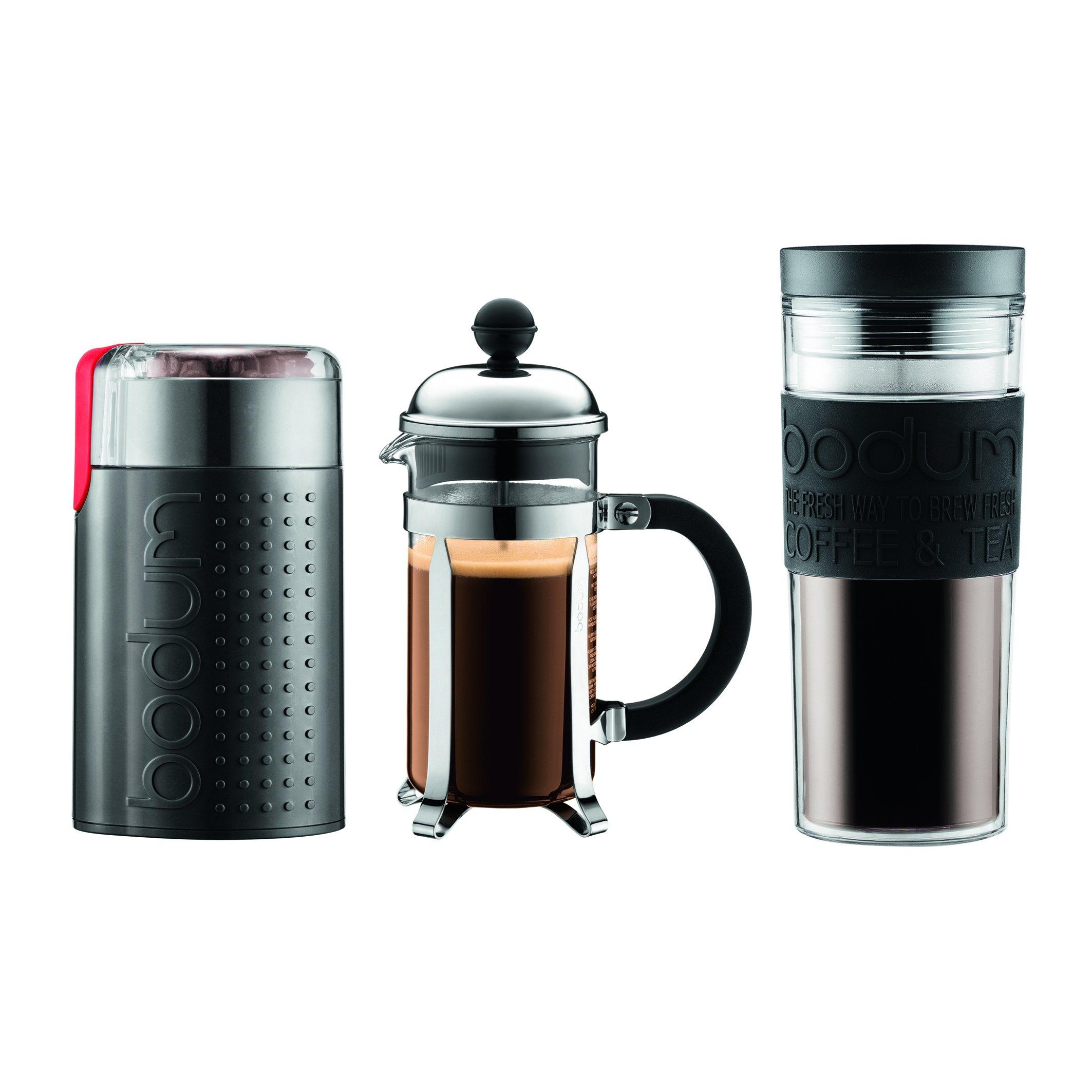 Bodum Chambord Set, French Press 3 Cup Coffee Maker, Electric Coffee Blade Grinder, 15 oz. Travel Mug, , Black
