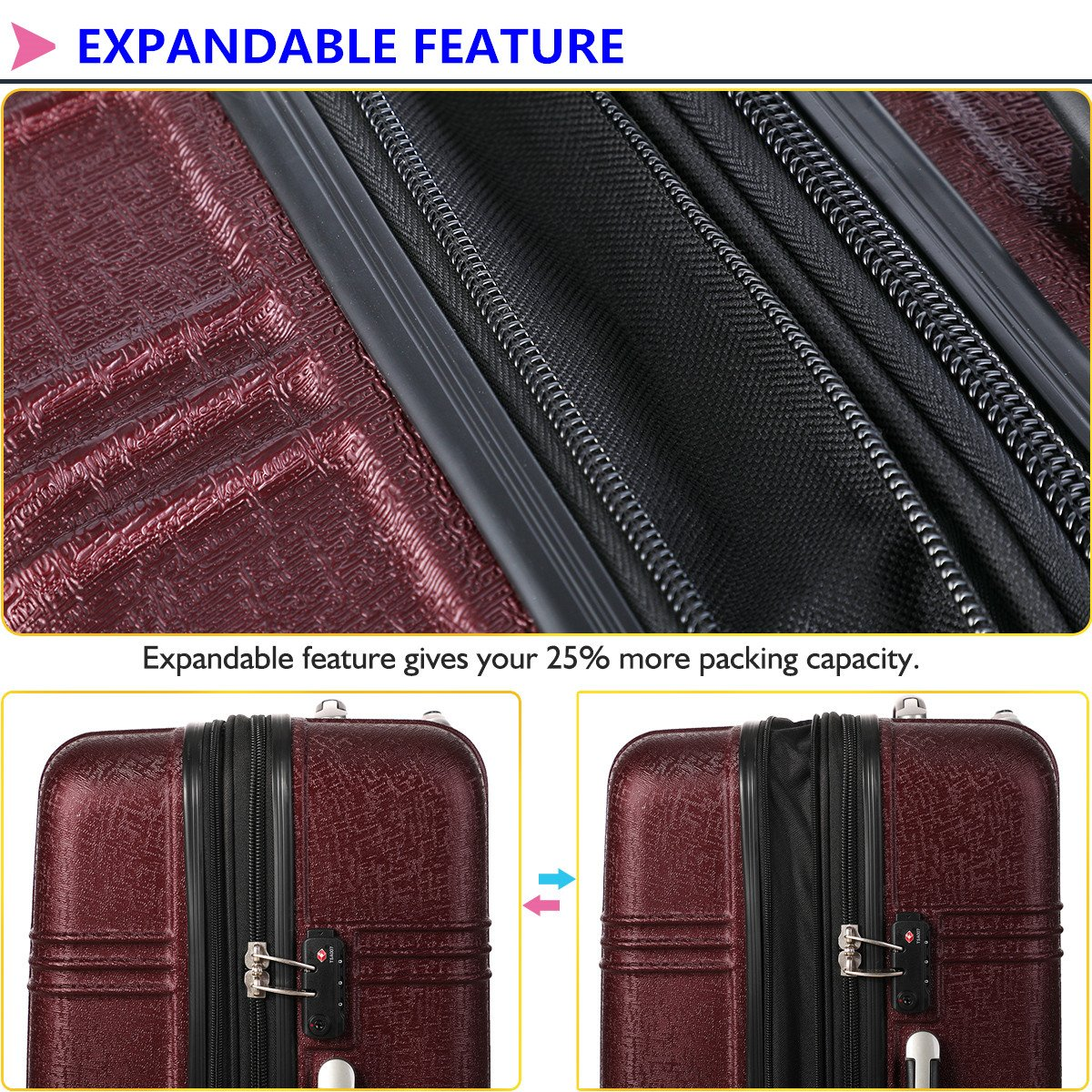 Expandable Carry On Luggage Lightweight Spinner Carry Ons TSA Hardside Luggage Suitcase, 20 inches (BURGUNDY) by Travel Joy (Image #2)