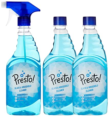 Amazon Brand - Presto! Glass and Household Cleaner - 500 ml with 2 Refills