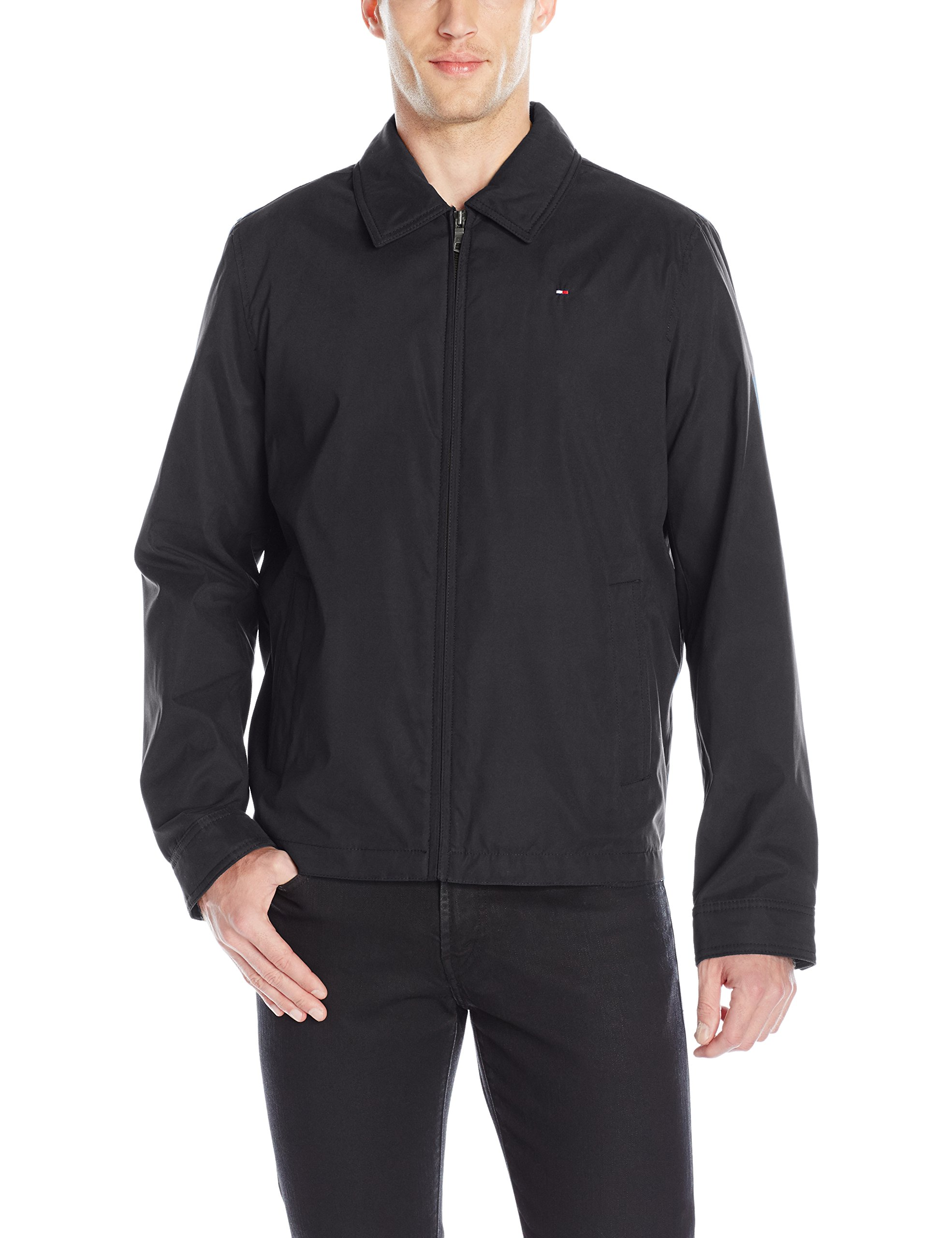 Tommy Hilfiger Men's Lightweight Microtwill Golf Jacket, Black, L by Tommy Hilfiger