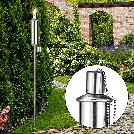 Acero inoxidable Antorcha de jardín 120 cm altura regulable Lámpara de aceite Jardín Lámpara cierre de seguridad acero inoxidable Antorcha regulable: Amazon.es: Jardín