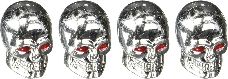 Vintage Parts 14560 Chrome Skull Valve Cap Set of 4