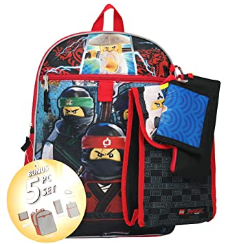 """4ebb2033dd Image Unavailable. Image not available for. Colour: Legos Ninjago 16""""  Backpack 5pc Set with Lunch Kit ..."""