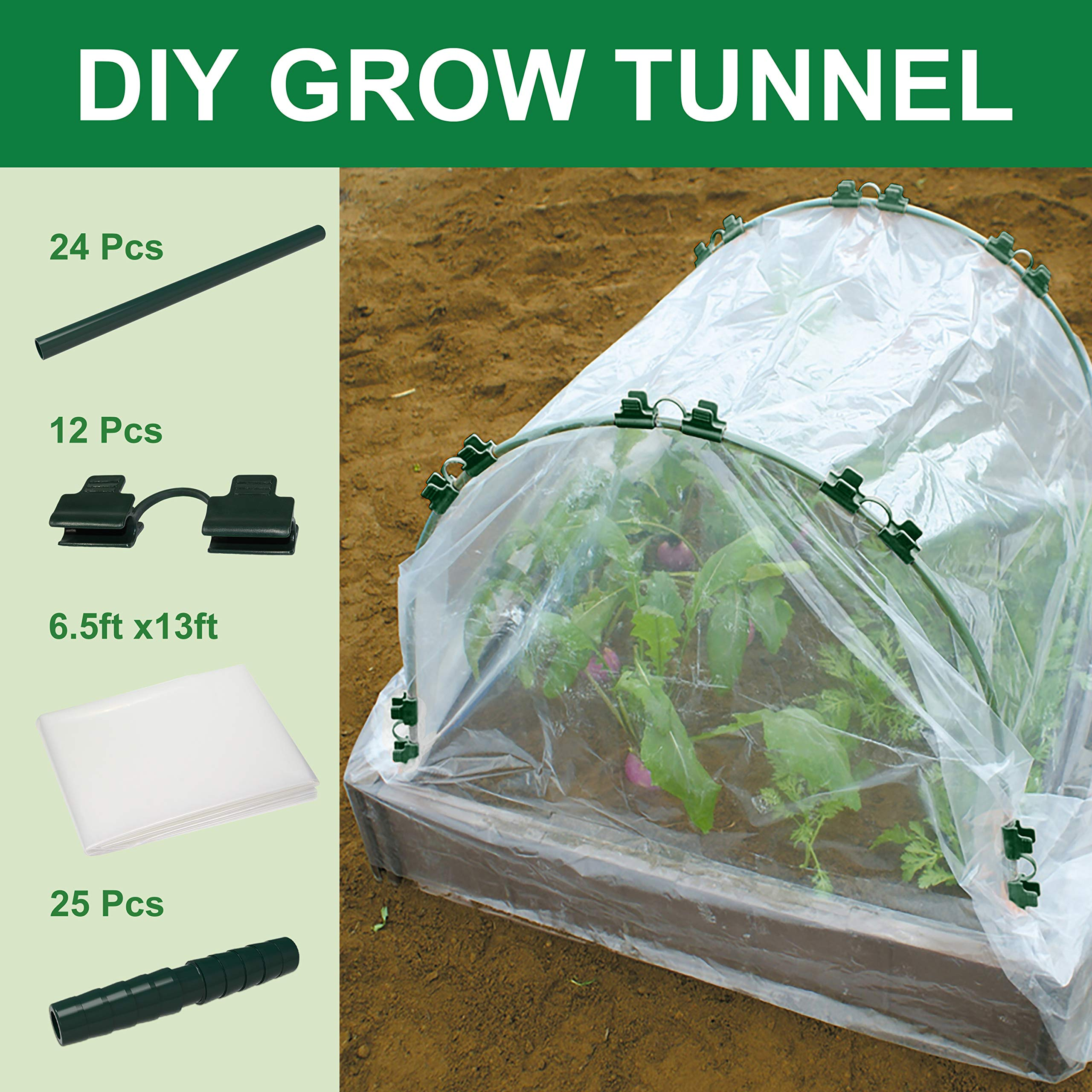 Gardzen DIY Hoops Grow Tunnel Mini Greenhouse with Plant Cover, Garden Fabric Support Frame