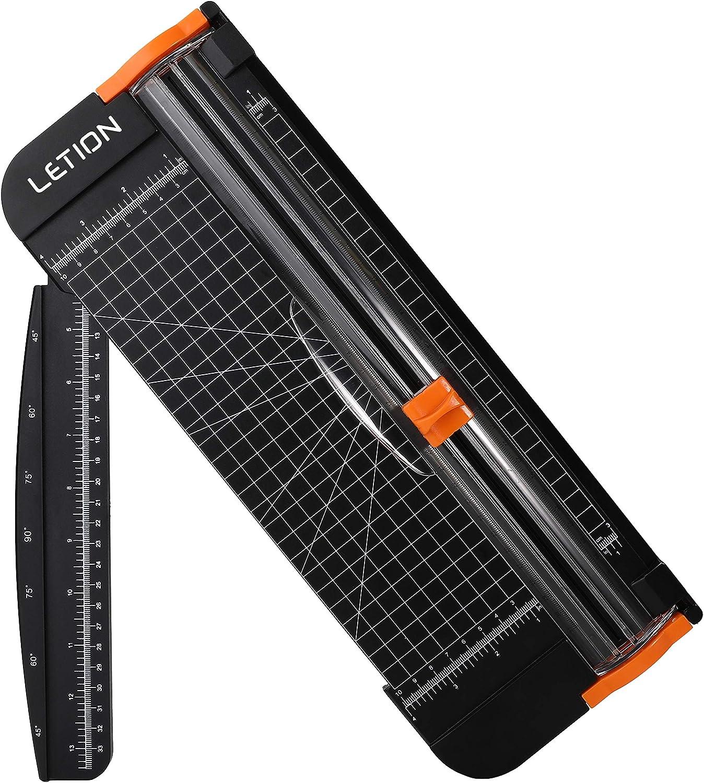 Guillotina Cortador de Papel, LETION 12 inch A4 de Titanio cortador de papeles cizalla papel con Automático de Seguridad Salvaguardar y Slide Regla Diseño para Cupón Craft etiqueta de Papel o foto