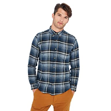 9b0b246e7421 Red Herring Men Navy Large Check Print Long Sleeve Slim Fit Shirt Xs  Red  Herring  Amazon.co.uk  Clothing