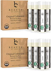Organic Lip Balm Original Unflavored - 8 Tubes of Natural Lip Balm, Lip Moisturizer, Lip Treatment for Dry Lips, Lip Care Gifts for Women or Men, Lip Repair, Organic Chapstick, Stocking Stuffer Ideas